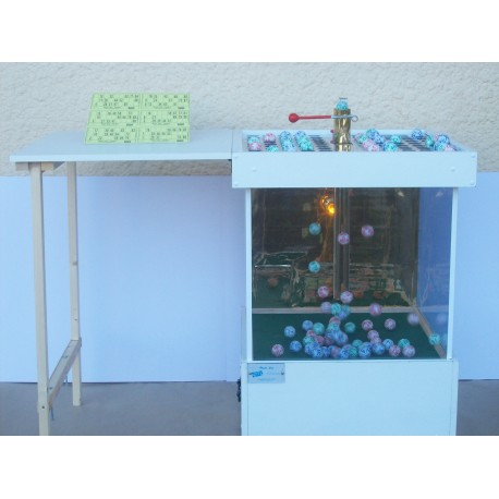 Boulier de loto à air pulsé sur roulettes avec sa table