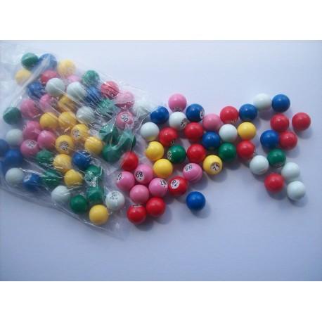 Boules de loto multicolores numérotés