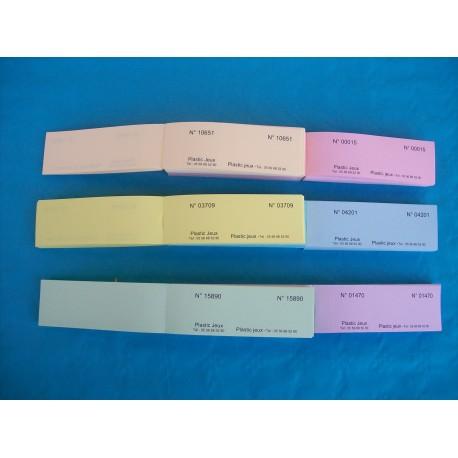 Carnet de 10 tickets de bourriche ou de tombola avec numérotation aléatoire - Lot de 20 carnets