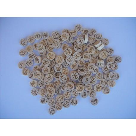 Sachet de 100 jetons de loto en hêtre numérotés