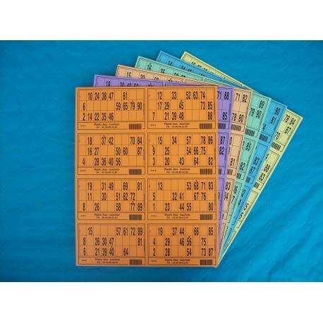 Plaque de 08 cartons de loto - Lot de 5 plaques