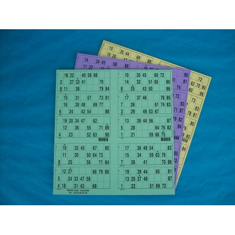 Plaque de 10 cartons de loto - Lot de 5 plaques