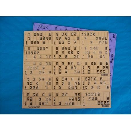 Plaque de 15 cartons de loto - Lot de 4 plaques