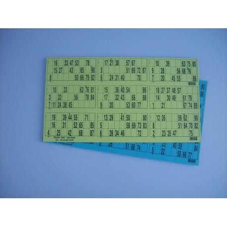 Plaque de 09 cartons de loto horizontale - Lot de 5 plaques