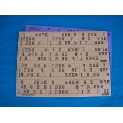 Plaque de 12 cartons de loto horizontale panachée - Lot de 5 plaques