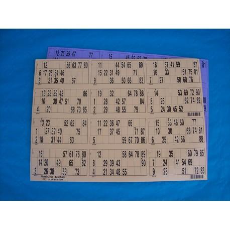 Plaque de 12 cartons de loto horizontale réversible - Lot de 5 plaques