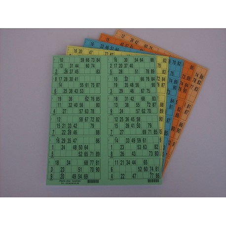 Plaque de 12 cartons de loto verticale - Lot de 50 plaques
